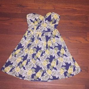 Blue strapless dress floral pattern
